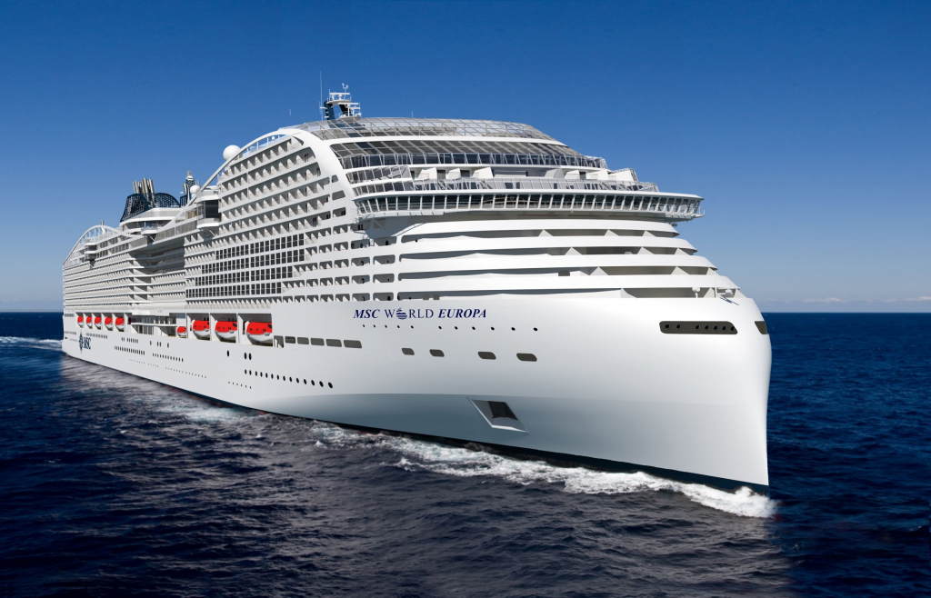 New rendering of MSC World Europa the first World Class Cruise ship for MSC Cruises.
