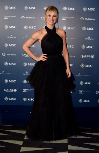 HAMBURG, GERMANY - NOVEMBER 09: Michelle Hunziker attends the launch of the MSC Grandiosa Naming Ceremony on November 09, 2019 in Hamburg, Germany. (Photo by Anthony Devlin/Getty Images for MSC)