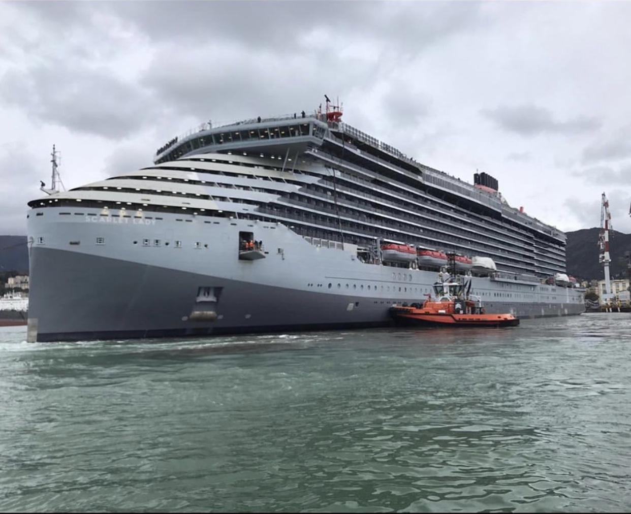 Virgin Voyages Scarlet Lady leaves shipyard in Genoa for sea trials