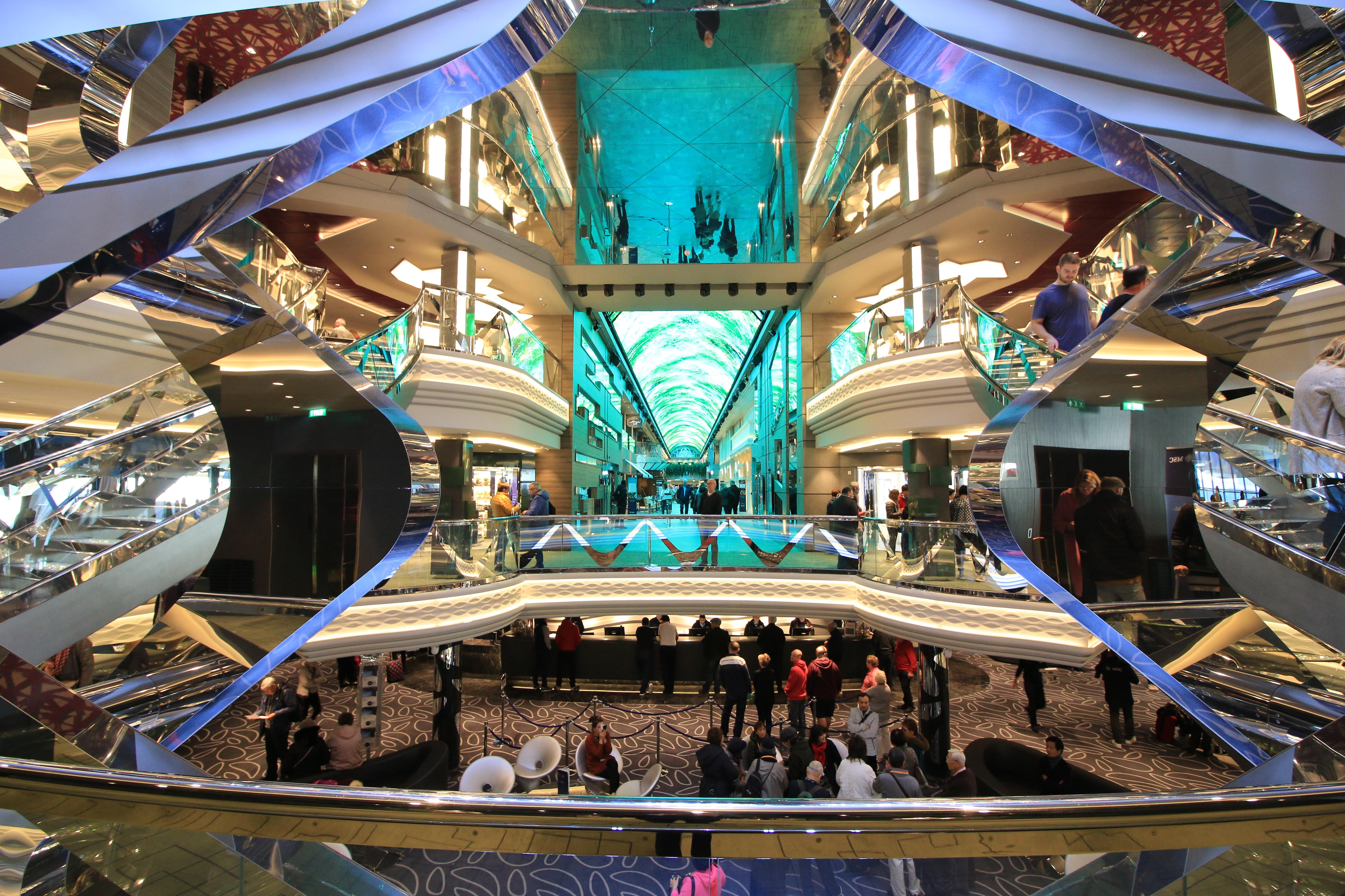 view of the atrium onboard MSC Grandiosa